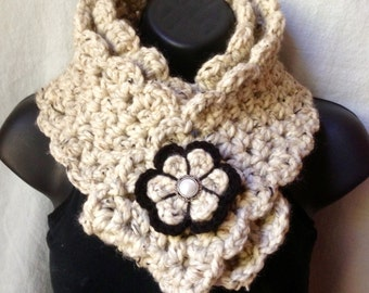 Crochet Scarf, Scarf Cowl, Oatmeal, Pick Color, Chunky Soft, Wool Blend, Birthday Gift for Her, Holiday gifts Fall SJE407B7