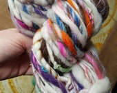 ART Yarn BIG 72 yards 6 oz. Handspun homespun handmade skein. Crochet flower felt bobbles. Ooak think and thin. Rainbow