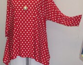 Plus Size Top, Coco and Juan, Lagenlook, Plus Size Tunic, Red Polka Dot Knit Drape Side Tunic Top One Size Bust  to 60 inches