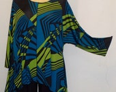 Coco and Juan Lagenlook Plus Size Top  Angled Tunic Top One Size Bust  to 60 inches
