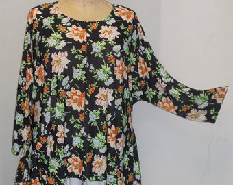 Coco and Juan, Lagenlook, Plus Size Top,Plus Size Tunic, Orange, Green, Flowers,Angled Tunic Top, Women's Top, One Size Bust  to 60 inches