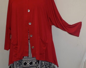 Coco and Juan Lagenlook Plus Size Red Traveler Knit Angled Jacket Top  One Size Bust  to 60 inches