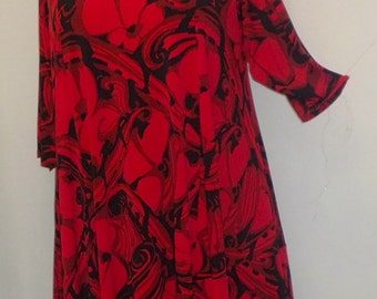 Plus Size Tunic Coco and Juan Plus Size Asymmetric Tunic Top Black and Red Roses Traveler Knit Size 1 (fits 1X,2X)   Bust 50 inches
