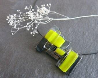Avant Garde Fused Glass Choker, Modern, Geometric Jewelry