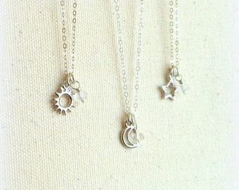 3 Best friend necklaces best friend gift set pagan sun moon star necklace sterling silver stocking stuffer