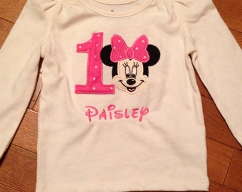 Mouse with bow birthday shirt