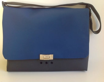 Vinyl Laptop Case in Charcoal and Blue, Gray and Blue Laptop Case, Vinyl Brief Case - FREE US SHIPPING