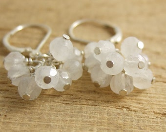 Earrings with a Cluster of Faceted Moonstone Beads BE-192
