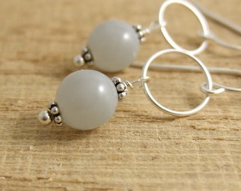 Earrings with Gray Glass Beads and Daisy Bali Beads on Sterling Silver Loops CHE-265