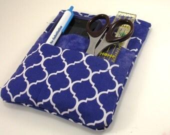 Nurse scrubs pocket organizer, purse organizer, lab coat pocket organizer - Purple Quatrefoil - Ready to Ship