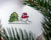 embroidered fabric heart Christmas winter ornament with snowman