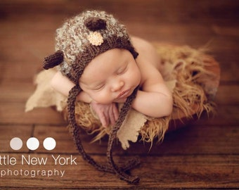 Teddy Bear Hat Baby Boy Newborn Girl Mohair Knit Ready Ship Animal Photo Prop Infant Cap Shower Gift Costume Coming Outfit Going Home Bonnet