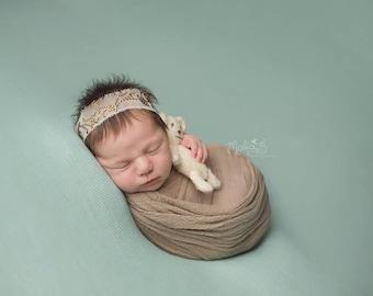 Jewel Baby Tieback Newborn Girl Natural Headband Photo Prop Toddler Halo Shimmer Organic Shower Gift Headwrap Going Home Ready Ship Wedding