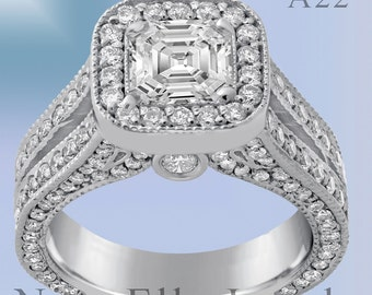 2.10ctw ASSCHER CUT antique style split shank diamond engagement ring