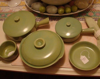 Lot of Eight (8) Pieces Vintage La Solana Green Pottery - 1970s
