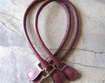 Handmade Leather Purse Bag Handles Cranberry Red with Antique Brass D-rings