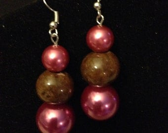 Earrings - Hot Pink and Brown 1