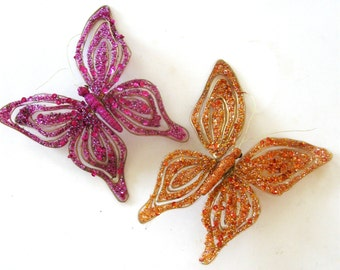 Butterfly Ornament Sequin Holiday Glitter Pink Orange Set of Two
