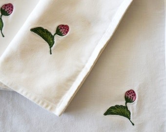 Vintage Table Napkins Embroidered Strawberry White Cotton Green Pink Set of Four