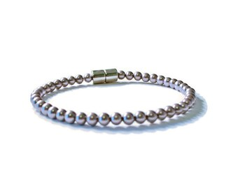 Purple Metallic Pearl Magnetic Hematite Therapy Pain Relief Bracelet