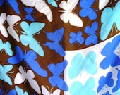 Vera Scarf Vintage Butterflies Sixties Fashion Silk Pop Art Blue Brown Bold Graphic Design