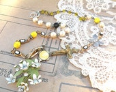 easter cross spring necklace flower cameo assemblage white yellow black