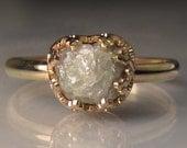 White Raw Diamond Engagement Ring 14k Gold, 1.85CTS Rough Diamond Ring, OOAK, Handmade Uncut Diamond Engagement Ring, Solid Gold Ring