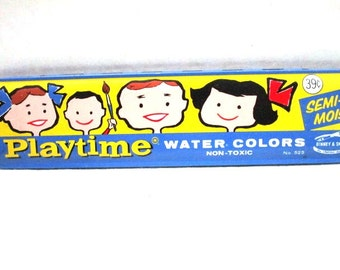 REDUCED Vintage Playtime Water Colors Paint Tin Binney & Smith No 525 w/ Cartoon Children Hinge Lid No Rust Children Art Supply Water Colors