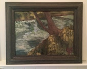 Framed Oil painting - 12x16 - landscape // river // rustic home decor // ready to hang