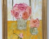 Framed Oil Painting - 16x20 // Spring roses // Home decor // Romantic gift // feminine