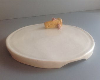 Porcelain Cheese Mice Tray Serving Dining Hand Built OOAK