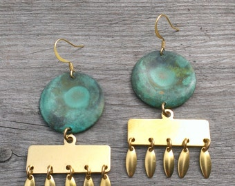 Turquoise and brass dangles