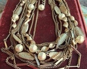 Vintage Multi Chain Multi Strand Necklace Antique Gold Mid Century Designer Costume Jewelry Ivory Pearls Short Necklace