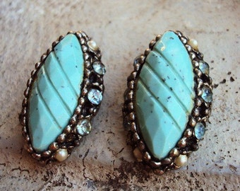 Vintage Mid Century Earrings Turquoise Cabochons Antique Silver Settings Clear Glass Rhinestones Pearls Costume Jewelry Retro Kitsch