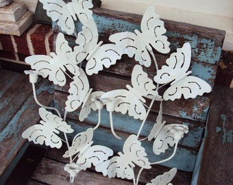 Vintage Shabby Chic Candelabra set Candle Holder wall Sconce Metal Butterfly Butterflies Large Antique Off White Vintage sculpture