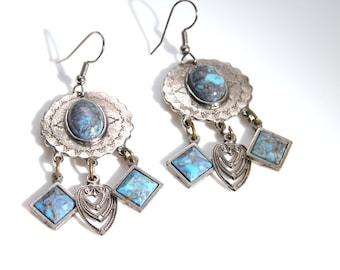 Boho earring, silver dangle earring, tribal hippie chic,turquoise blue, ethnic mediterranean, vintage retro bohemian jewelry,fashion jewelry