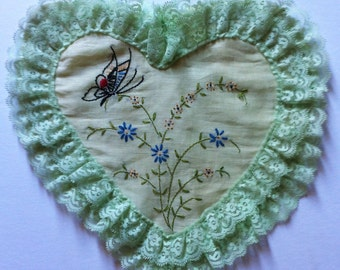 Vintage Embroidered  Boudoir Heart Shaped pillow 20s or 30s