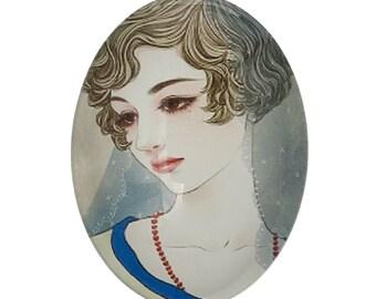 Free uk postage Glass Oval Cabochon Melancholic Lady Pack of 2