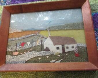 Vintage IRISH Folk ART Textile Art Picture Ireland Countryside Tweed