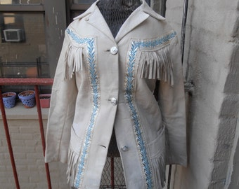 Vintage 1970s Pioneer Wear White Fringed Leather Jacket S/M