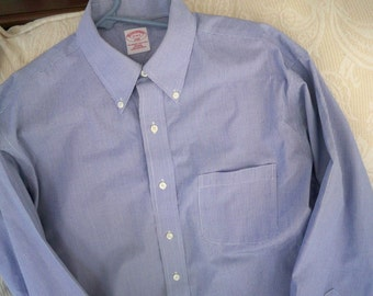 Vintage Men's Clothing Long Sleeve Shirt Blue Check Button Down Collar Brooks Brothers Size 17 4 / 5