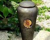 Raku Newborn or Pet Urn with Ammonite Fossil