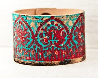 Turquoise Jewelry Leather Bracelet - Hand Painted Leather Accessories Southwest Bohemian Teal Leather Wristbands - Boho Gypsy Chic