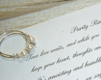Pearl Band, Purity Ring, Sterling Silver