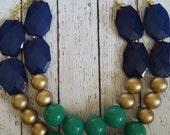 Navy, Emerald Green and Gold Chunky Statement Bib Necklace...Purchase 3 or more get 10% off