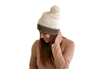Knitting Pattern PDF:  Chunky Pom Pom Beanie, Color Block, Off White & Taupe / The Dichotomy/  Women, teen, winter hat, knit hat
