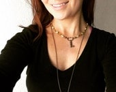 Double strand beaded skeleton key necklace with brass chain and pearls