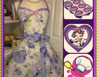 Retro handmade purple flowers, soft and feminine pretty woman's full apron