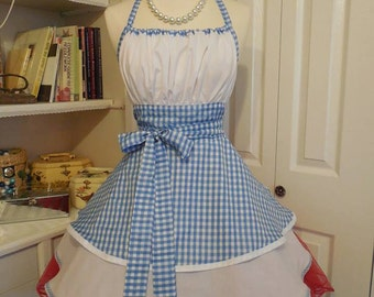Handmade woman's apron in Dorothy Of Oz theme, Cosplay, costume party, full, pin up, made to order