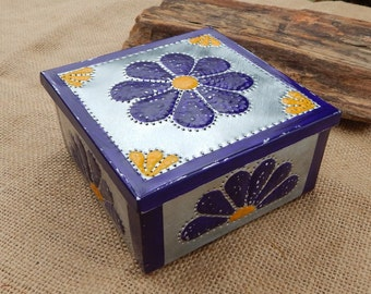 Tin Punch Trinket Box   ~ Southwest Decor Rosary Box  ~  Rosette Trinket Box  ~  Tin Punch Gift Box  ~  Rosette Gift Box  ~  SW Jewelry Box